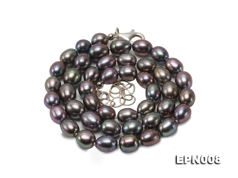 7-7.5mm Oval Pewter Freshwater Pearl Necklace with Adjustable Clasp