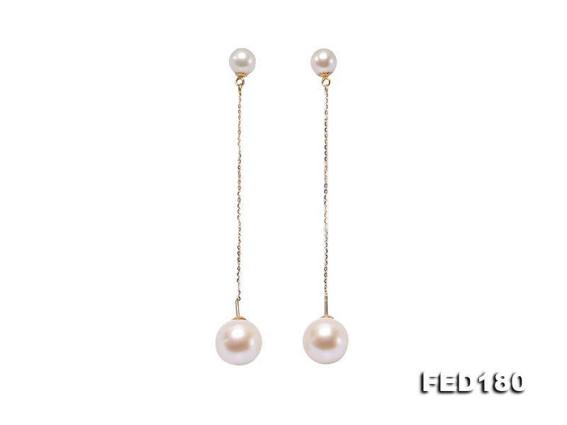 Delicate Top-Grade 6.5mm and 10.5mm Freshwater Pearl Dangle Earring in 18k Gold