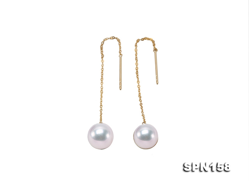 Gorgeous 8mm Top-grade Akoya Pearl Dangle Earring in 18k Gold