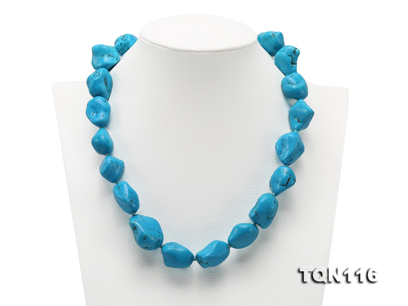20×25-25x30mm Irregular Blue Simulated Turquoise Necklace