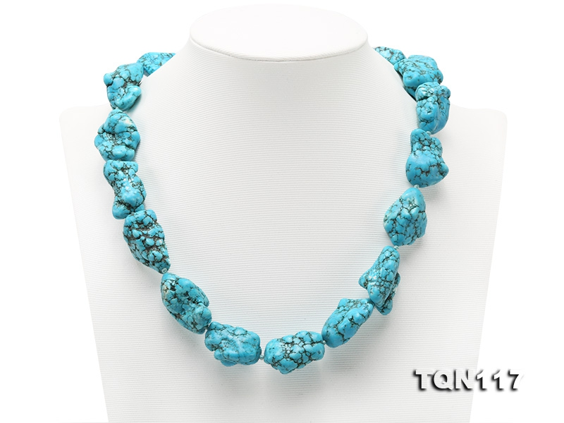 20×25-25x30mm Baroque Blue Simulated Lapis Necklace