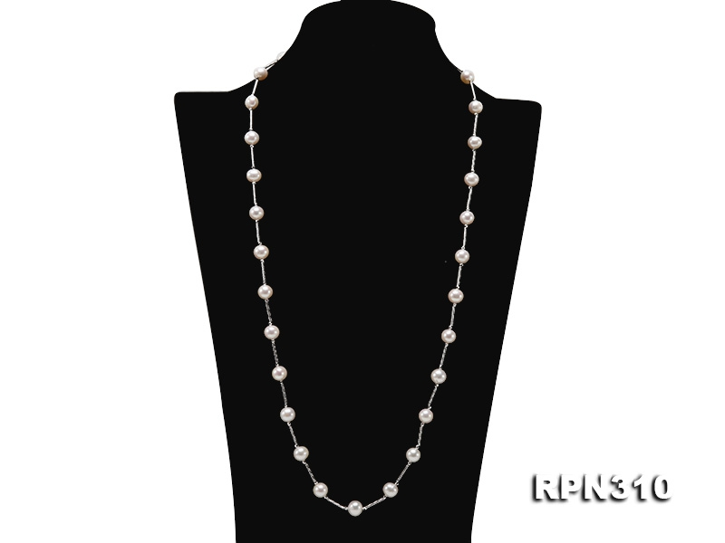 Elegant 9-9.5mm Round White Freshwater Pearl Necklace in Sterling Silver