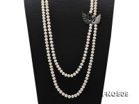 High Grade 8-8.5mm Two-Strand Freshwater Pearl Opera Necklace