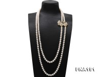 Classical 8.5-9mm Two-strand White Pearl Opera Necklace