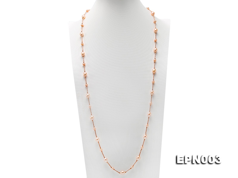 Elegant8.5×10-9.5×10.5mm Oval PInk Freshwater Pearl Necklace in Sterling Silver