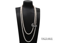 Classical 8.5-9.5mm Two-strand White Pearl Opera Necklace