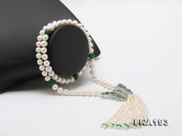9-11mm White Round Freshwater Pearl Necklace with Pearl Tassels