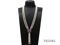 Double-strand 8.5-10mm White Flatly Round Freshwater Pearl Necklace