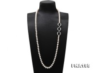 8.5-9.5mm White Flatly Round Freshwater Pearl Opera Necklace