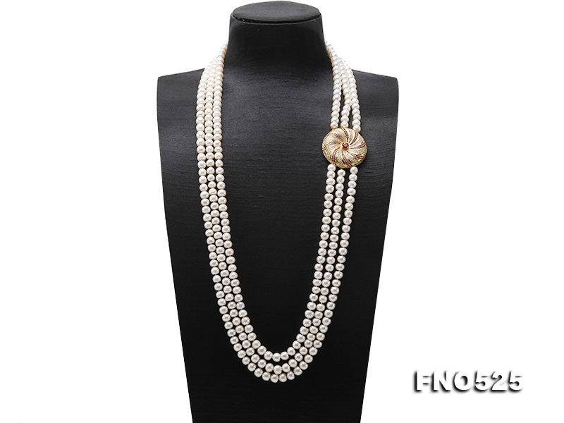 High Grade 8-9mm Three-Strand Freshwater Pearl Opera Necklace