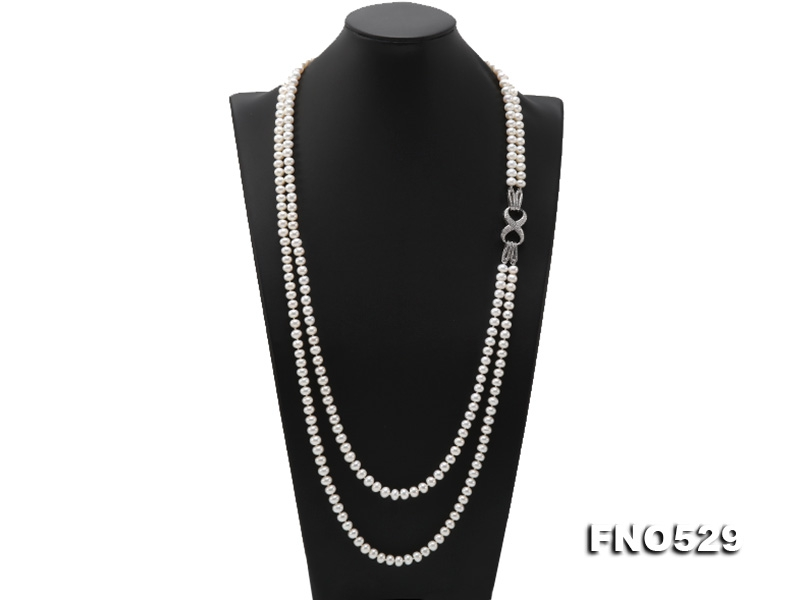 High Grade7.5-8mm Two-Strand Freshwater Pearl Opera Necklace
