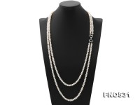 Double-strand 6.5-8mm White Flatly Round Freshwater Pearl Necklace