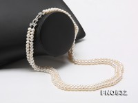 Double-strand 7-7.5mm White Flatly Round Freshwater Pearl Necklace
