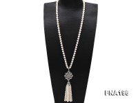 9-10mm White Round Pearl Opera Necklace with Pearl Tassels