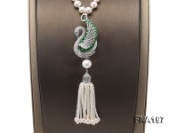 8-9mm White Round Pearl Opera Necklace with Pearl Tassels