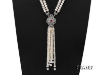 9-10mm White Flatly Round Pearl Opera Necklace with Pearl Tassels