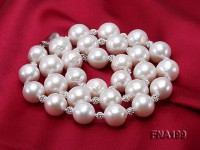 12-14mm White Round Edison Pearl Necklace with Czech Zircons