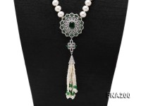 9-10mm White Round Pearl Necklace with Pearl Tassels