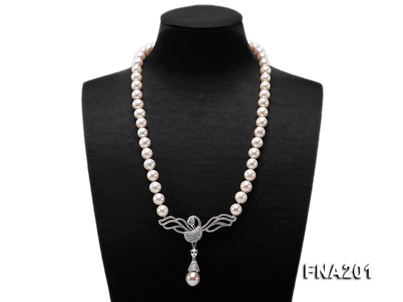 Quality 9-10mm Whiter Round Freshwater Pearl Necklace