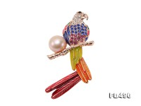 Exquisite 13mm Colorful Parrot Pearl Brooch