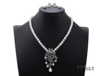 High Quality White Freshwater Pearl Necklace Earring Set