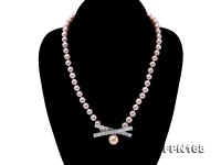 Classical 7-7.57.5-8.5mm Lavender Pearl Necklace