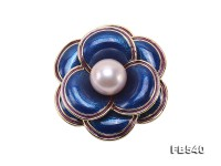 Beautiful 12.5mm Lavender Edison Pearl Blue Camellia Flower Brooch