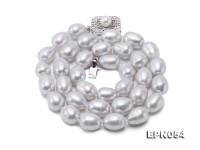 8.5×10.5-9×11.5mm Silver Rice-shape Freshwater Pearl Necklace
