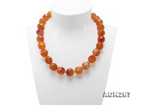 Beautiful 16.5mm Red Faceted Agate Necklace