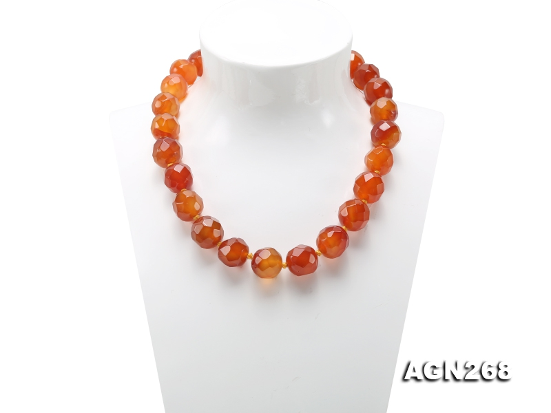 Beautiful 18mm Red Facted Agate Necklace