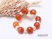 Beautiful 18mm Red Faceted Agate and Pearl Bracelet