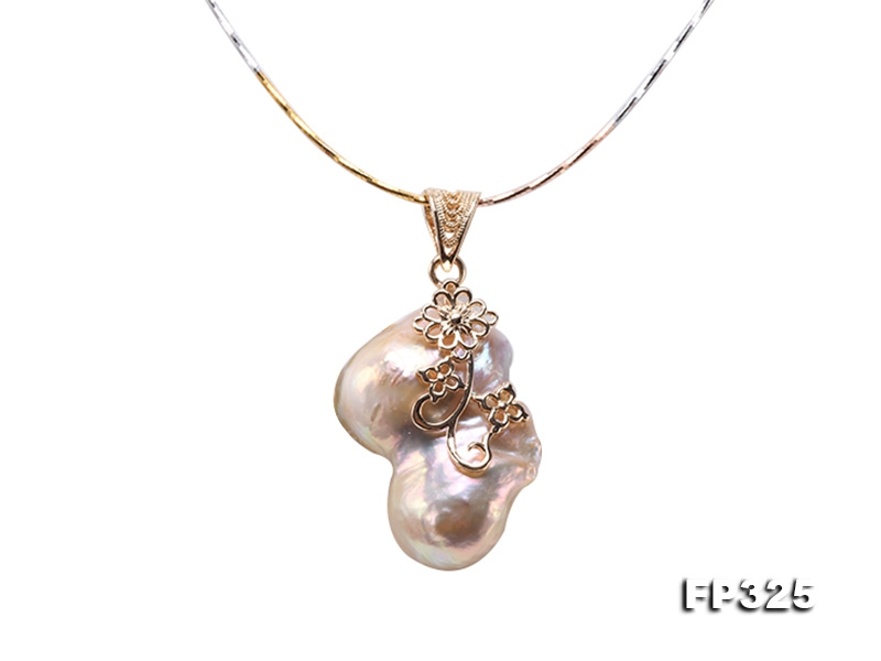 27x38mm Baroque Freshwater Pearl Pendant in 925 Sterling Silver