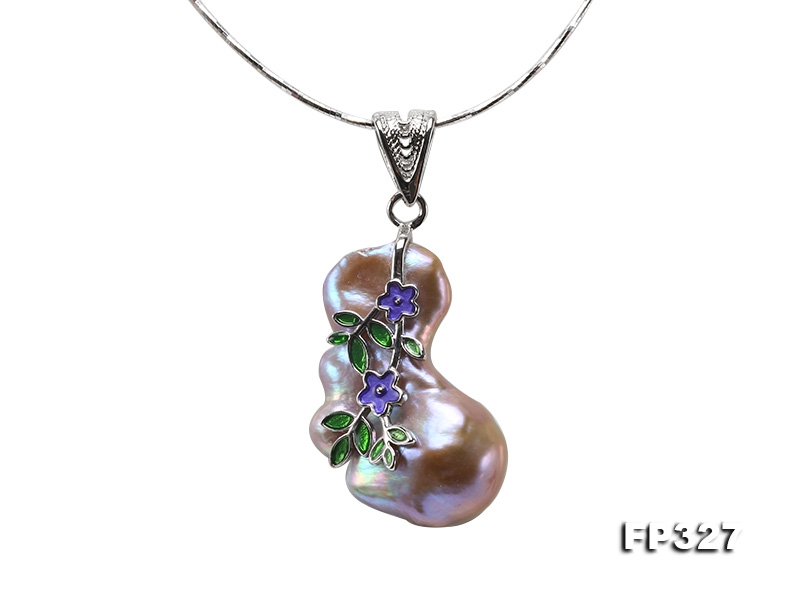 22x38mm Baroque Freshwater Pearl Pendant in 925 Sterling Silver