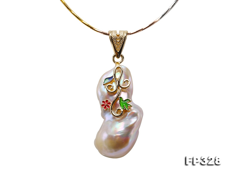 21x40mm Baroque Freshwater Pearl Pendant in 925 Sterling Silver