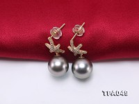 Precious 10mm Tahitian Pearl Earrings in 14k Gold