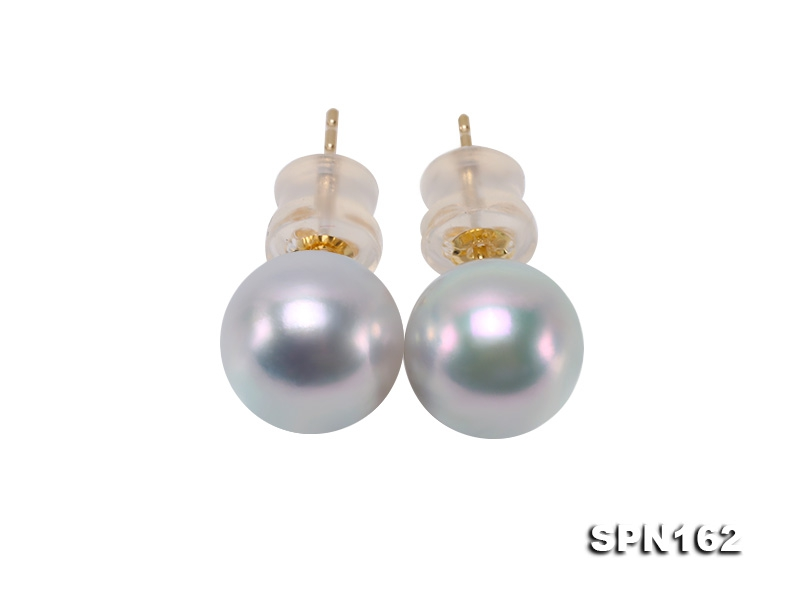 Elegant 8.5mm High-grade Grey Akoya Pearl Studs in 18k Gold
