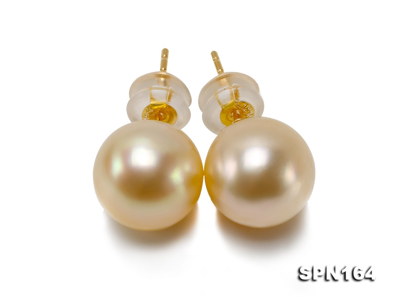 Elegant 9mm High-grade Golden Akoya Pearl Studs in 18k Gold