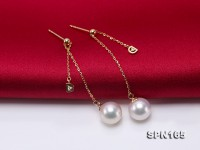 Gorgeous 8.5mm Top-grade Akoya Pearl Dangle Earring in 18k Gold