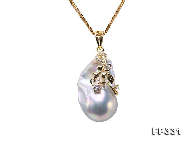 18x30mm Baroque Freshwater Pearl Pendant in 925 Sterling Silver