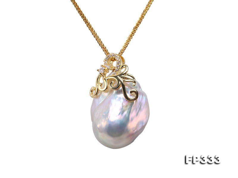 21x29mm Baroque Freshwater Pearl Pendant in 925 Sterling Silver