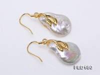 Unique 16.5x25mm Baroque Freshwater Pearl Earrings in 925 Sterling Silver