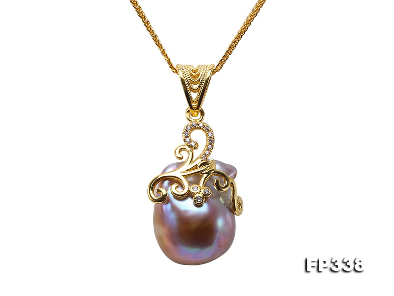 17x21mm Baroque Freshwater Pearl Pendant in 925 Sterling Silver