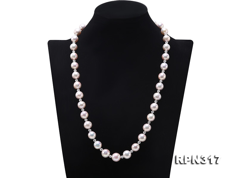 10.5-13mm White Round Edison Pearl Necklace with Czech Zircons