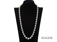 10.5-13.5mm White Round Edison Pearl Necklace with Czech Zircons