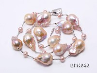 15×23-16.5×30mm Multicolor Baroque Pearl Necklace in Sterling Silver
