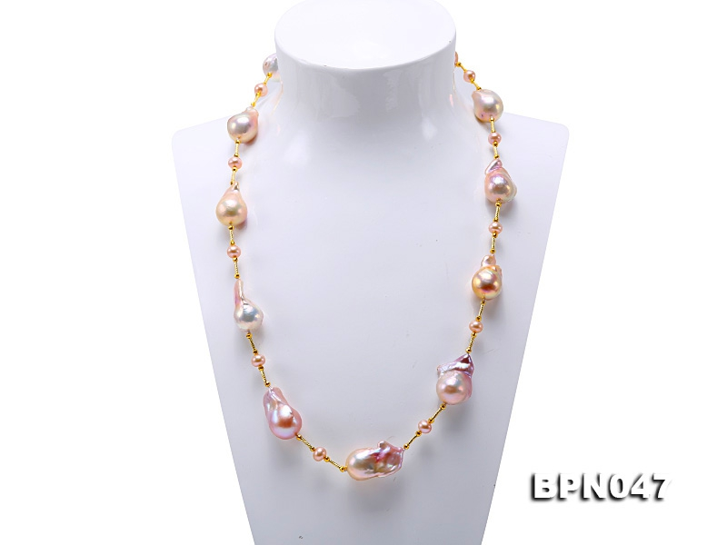 19×24-17.5×30mm Multicolor Baroque Pearl Necklace in Sterling Silver