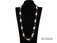14×35-16.5×35mm Multicolor Baroque Pearl Necklace in Sterling Silver