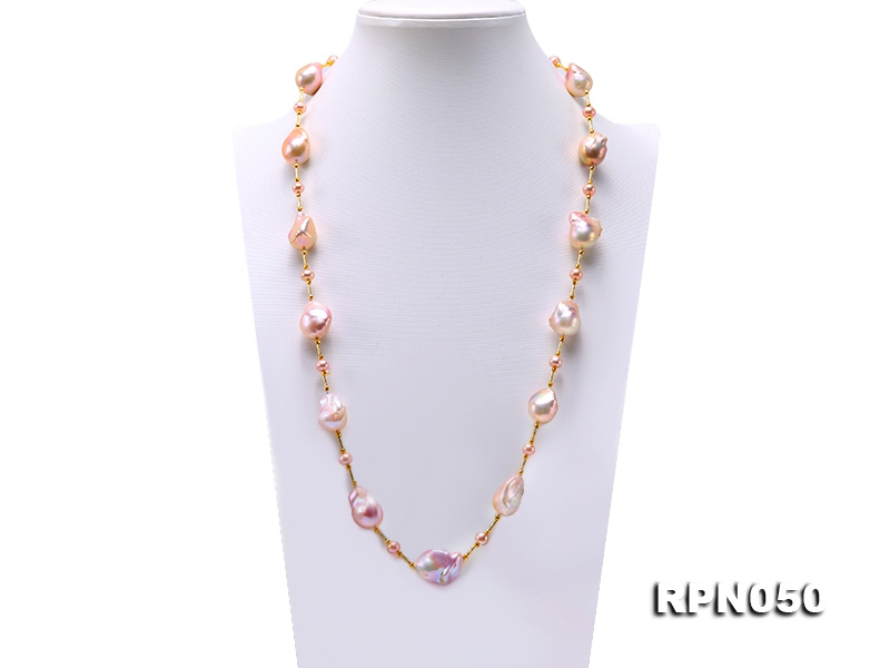 18.5×24-25×26mm Multicolor Baroque Pearl Necklace in Sterling Silver
