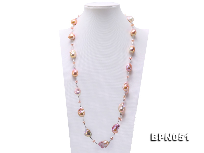 14.5×24-18.5×28mm Multicolor Baroque Pearl Necklace in Sterling Silver