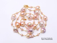17×18-18.5×25mm Multicolor Baroque Pearl Necklace in Sterling Silver